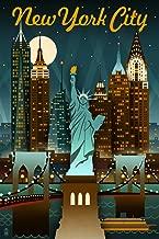 New York - Retro Skyline (9x12 Art Print, Wall Decor Travel Poster)