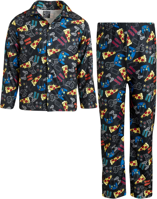 Quad Seven Boy's Flannel Fleece Pajamas - 2 Piece Long Sleeve Button Down and Pants Sleepwear Set, Size 16/18, Black Pizza