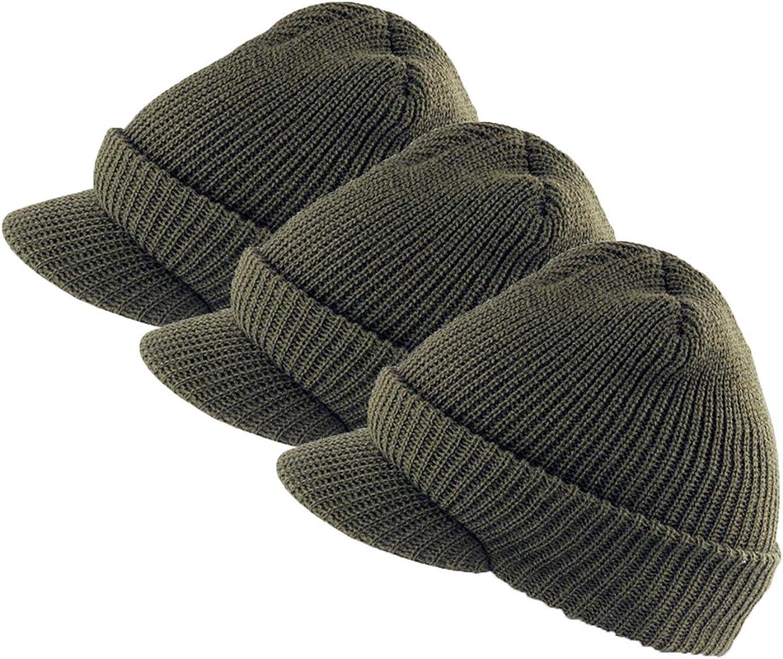 Winter Beanie Cap with Visor, 100% Wool, Made in USA - Genuine G.I.