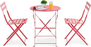 JY QAQA 3 Piece Patio Bistro Set No Assembly Needed Folding Round Table and Chairs,Metal Outdoor Furniture Set for Porch Balcony Lawn Garden Living Room,No Assembly Required (Red)