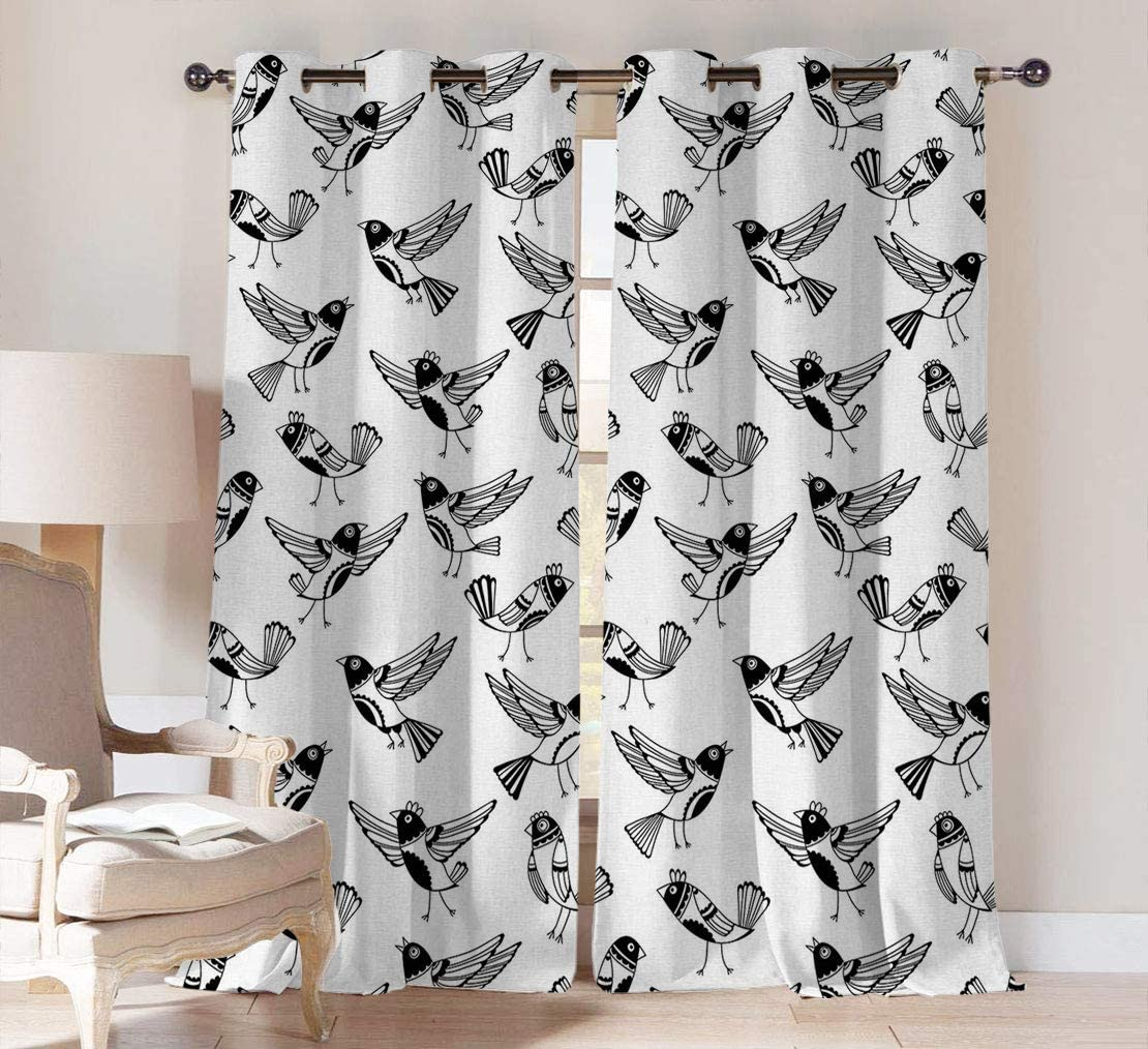 Cheap super special price Black and White Blackout Curtain Chi Sketch shipfree Doodle Panels Style