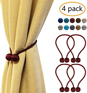 YOBAYE Magnetic Curtain Tiebacks, 4 Pack Drape Tie Backs Decorative Curtain Rope Holdbacks for Home Kitchen Office Window Drapes, No Drilling & Holes Required,Burgundy