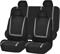 FH GROUP FB032GRAY114 Gray Unique Flat Cloth Car Seat Cover