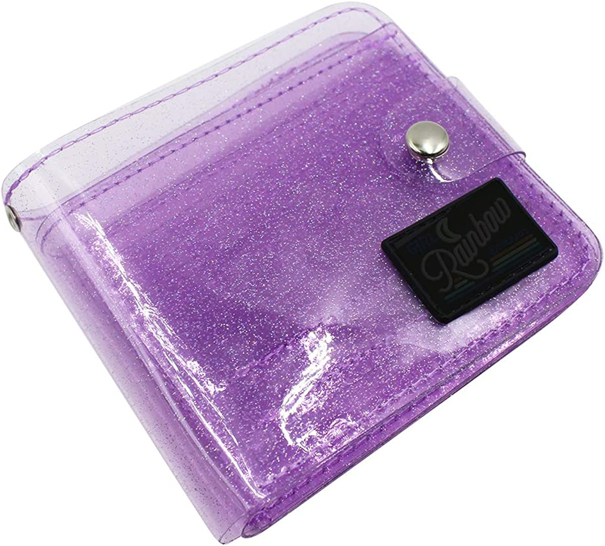 Women Girls Don't miss the campaign Jelly Bifold Wallet Purse ID Clear Great interest Pouch H Coin Card