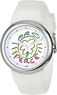 PeaceLove Unisex F36S-PLW-W Round Stainless Steel White Silicone Strap and