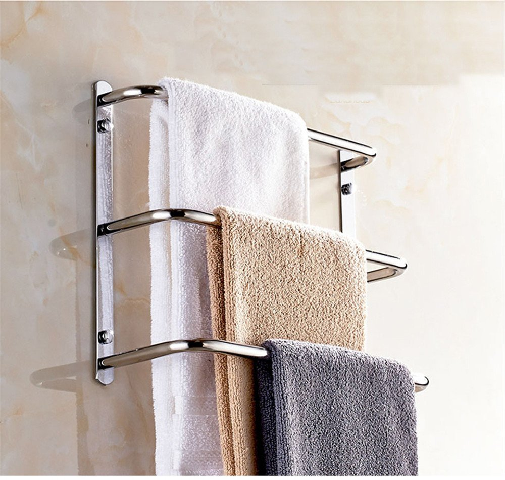 Amazon Com Lonfenn Multi Layer Bathroom Towel Rack Bathroom Multifunctional Towel Bar Stainless Steel Towel Rack Bath Towel Rack Ladder Type Circular Towel Rack Three Layers 45cm Home Kitchen