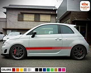 Gold Fish Decals Set of Sport Side Diagonal Stripe Kit Decal Sticker Graphic Compatible with Fiat 500 Abarth 07-017