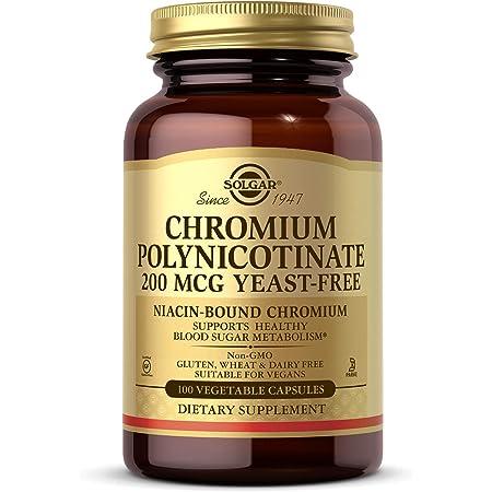 Solgar Chromium Polynicotinate 200 mcg, 100 Vegetable Capsules - Supports Healthy Blood Sugar Metabolism - Niacin-Bound Chromium - Yeast Free, Vegan, Gluten Free, Dairy Free, Kosher - 100 Servings