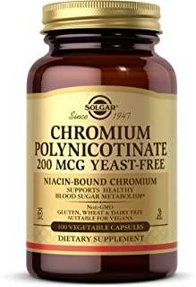 Solgar Chromium Polynicotinate 200 mcg, 100 Vegetable Capsules - Supports Healthy Blood Sugar Metabolism - Niacin-Bound Ch...