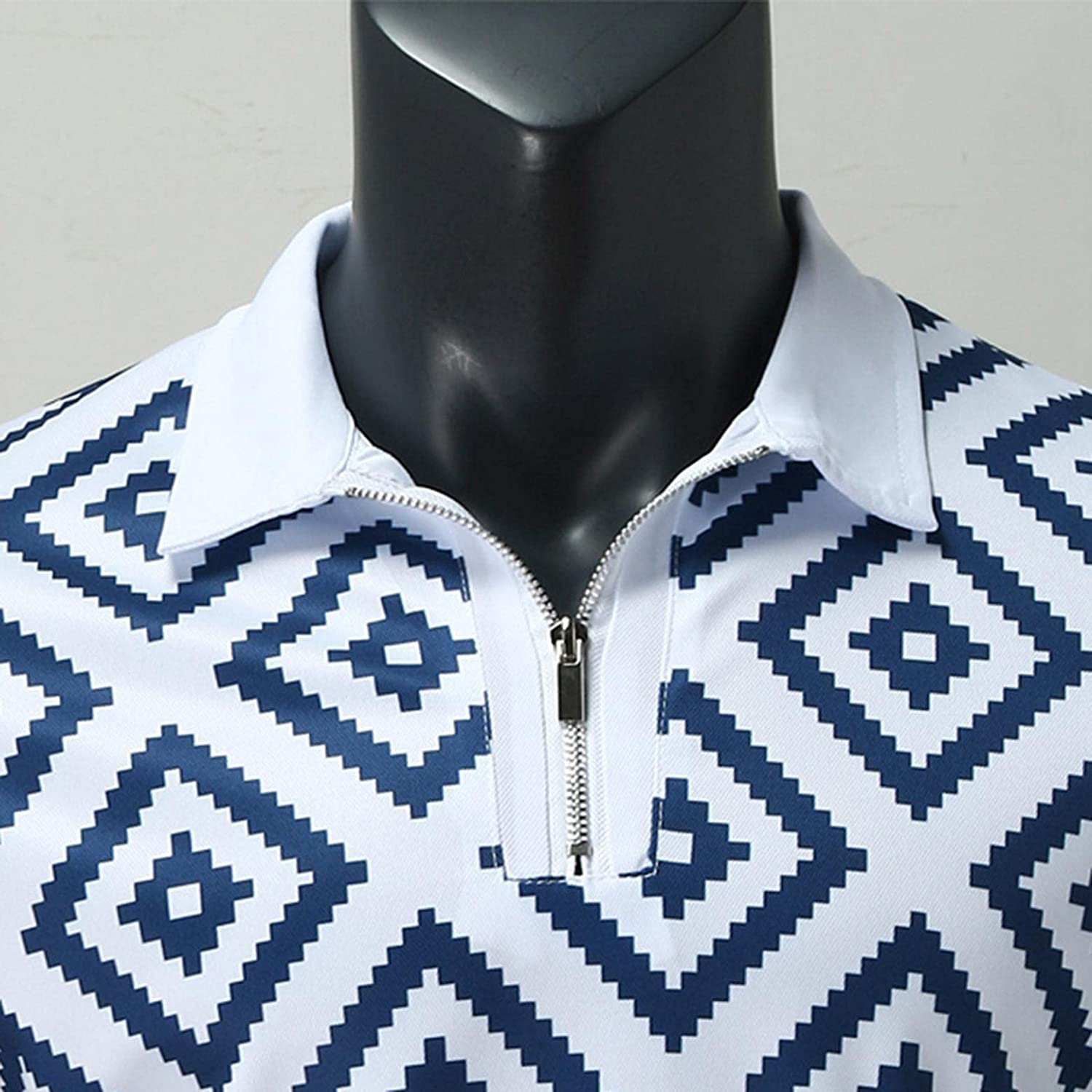 Polo Shirts for Men Short Sleeve Polka Dots Printed Zipper Sweatshirts Casual Slim Business Pullover Blouse Soft Tops