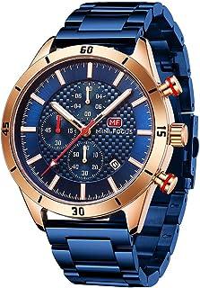 MINI FOCUS Watches for Men Fashion Stainless Steel Chronograph Watch Man Luminous Quartz Wristwatch Blue Rose Gold