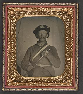 Historic Photos Unidentified cavalry soldier in Union uniform with Hardee hat holding Model 1858 light cavalry saber