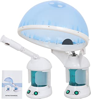 Portable 2 In 1 Hair and Facial Steamer W/Bonnet Hood for Personal Home Use, Mini Table TOP SPA Steamer Machine with Cap, Hot Mist Beauty Equipment (#2) (#2)