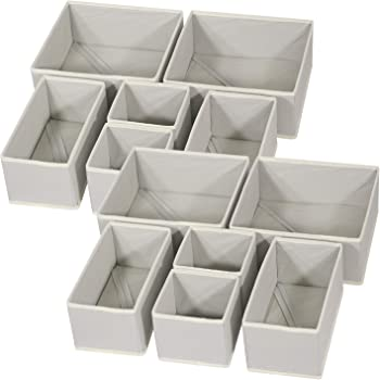 DIOMMELL 12 Pack Foldable Cloth Storage Box Closet Dresser Drawer Organizer Fabric Baskets Bins Containers Divider for Baby Clothes Underwear Bras Socks Lingerie Clothing,Grey 444