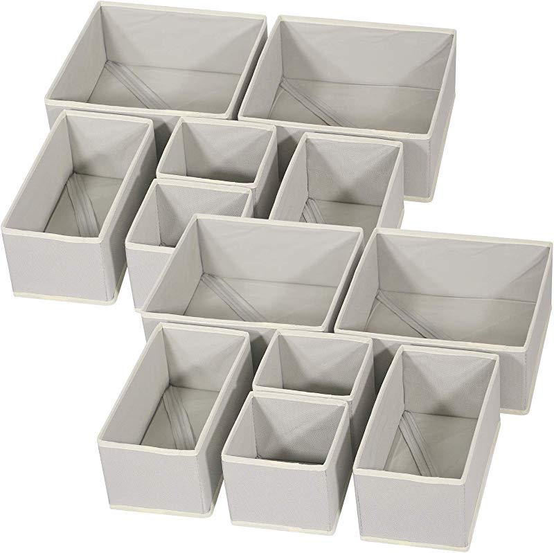 DIOMMELL Foldable Cloth Storage Box Closet Dresser Drawer Organizer Fabric Baskets Bins Containers Divider For Baby Clothes Underwear Bras Socks Lingerie Clothing Set Of 12 Grey 444