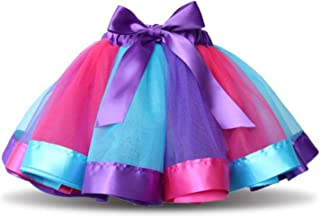 traderplus Girls Rainbow Tutu Skirt Princess Ballet Dance Dress Ruffle Tiered Tutus for Girls