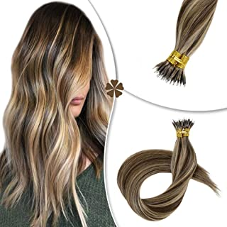 Hetto Long Straight Fusion Keratin Remy Hair Extensions Brazilian Nano Hair Extensions 100g Piano Color #4 Dark Brown with #16 Golden Blonde 22 Inch
