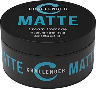 Challenger Men's Matte Cream Pomade, 3 Ounce   Natural Finish, Clean & Subtle Scent   Medium Firm Hold   Water Based & Tra...