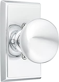 Providence Door Set with Round Brass Knobs Privacy in Polished Chrome. Doorsets.