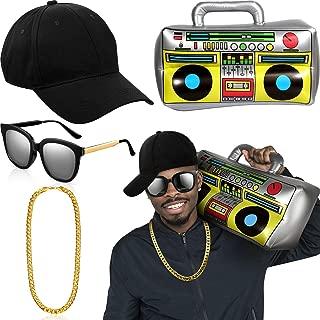 Hip Hop Costume Kit Hat Sunglasses Gold Chain 80s/ 90s Rapper Accessories (Black Baseball Cap, Boom Box)