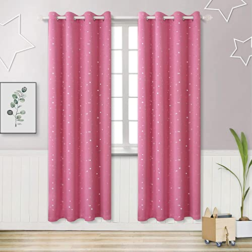 38befbcefb59 BGment Pink Blackout Curtains for Girl's Bedroom - Silver Star Printed  Thermal Insulated Room Darkening Eyelet