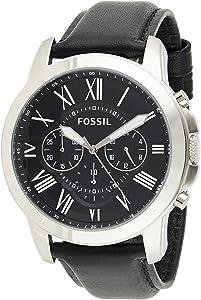 ساعة بسوار من الجلد ومينا اسود للرجال من فوسيل FS4812