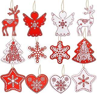 VINFUTUR 48pcs Décorations Noël Sapin Accessoires Pendentifs en Bois d'arbre de Noël 6 Style avec Corde Embellissement Cré...