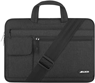 MOSISO Laptop Shoulder Bag Compatible with 15-15.6 inch MacBook Pro, Ultrabook Netbook, Polyester Flapover Protective Messenger Briefcase Carrying Handbag Sleeve Case Cover, Black