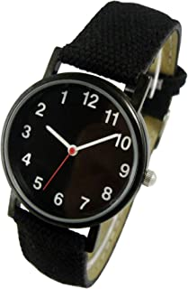 Backwards Watch, Anti Clockwise Black Face And Synthetic Leather And Canvas