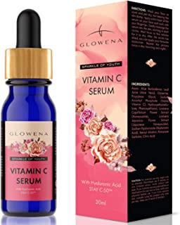 Premium Vitamin C Serum with Hyaluronic Acid and Flower Extracts. Vegan Anti Aging Serum that Works Best for Wrinkles and Fine Lines by Glowena. Free Tweezer In Every Pack!