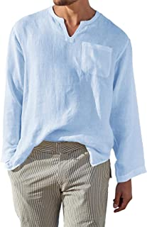 Sponsored Ad - Men's Long Sleeve Linen Shirts V-Neck Loose Fit Casual Hippie Beach Tops with Pocket