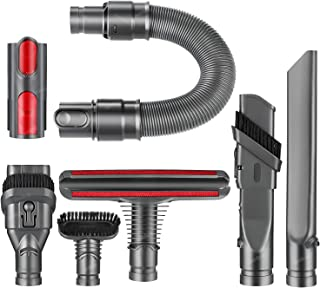isinlive Replacement Attachment Hose Kit Accessory Brush Tools Kit Compatible with Dyson V6 V8 V7 V10 DC58 DC59 Vacuum Cleaner with Quick Release Convertor Adapter (7 in 1 Brush Kit)