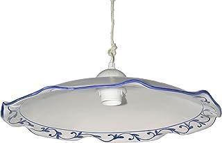 VANNI LAMPADARI - Lampada a Aospensione Piatto onda piegato Diametro 40 In Ceramica Decorata A Mano Disponibile In 5 Finiture