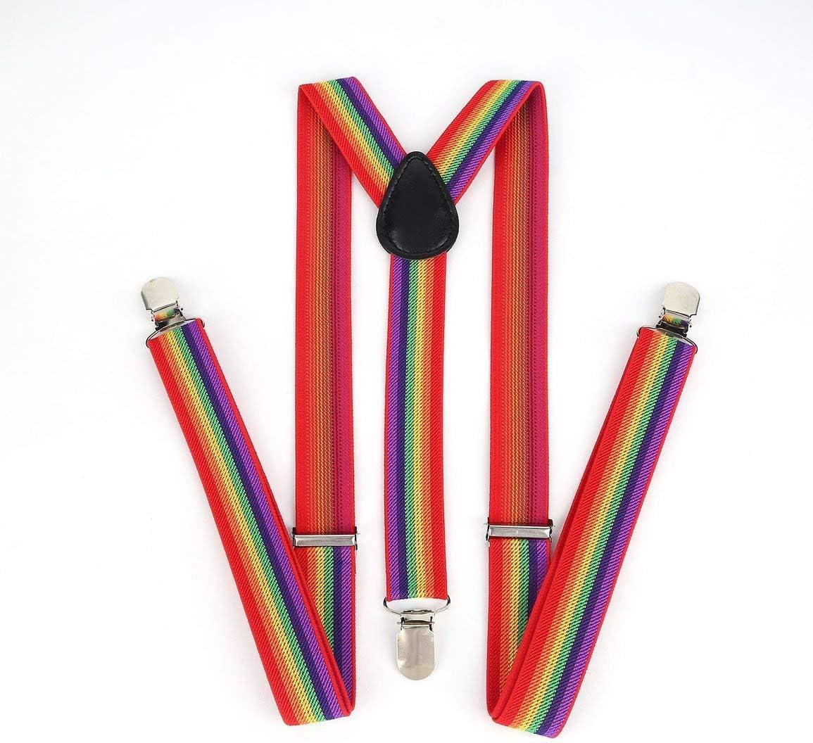 Unisex Women Men Y Shape Elastic Clip-on Suspenders Strap Pants Braces Adjustable Braces Adult 3 Clip Suspender Belt Strap