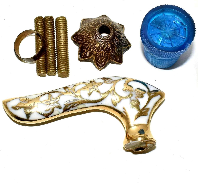 Handmade White Designer Brass Handle New mail order Stick Cane V Walking Cheap sale Wooden