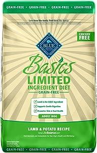 Blue Buffalo Basics Limited Ingredient Diet, Grain Free Natural Adult Dry Dog Food, Lamb & Potato 11-lb
