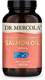 Dr. Mercola, Wild Caught Alaskan Salmon Oil, 30 Servings (90 Capsules), Made with Fresh, Wild Caught Alaskan Sockeye Salmo...