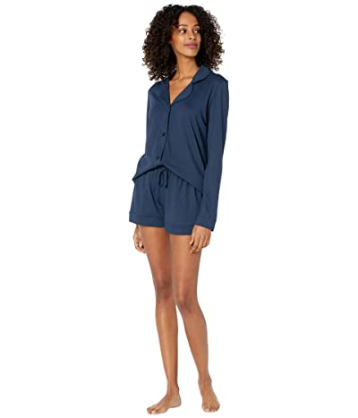 Cosabella Bella Long Sleeve Top Boxer PJ Set (Navy/Navy) Women