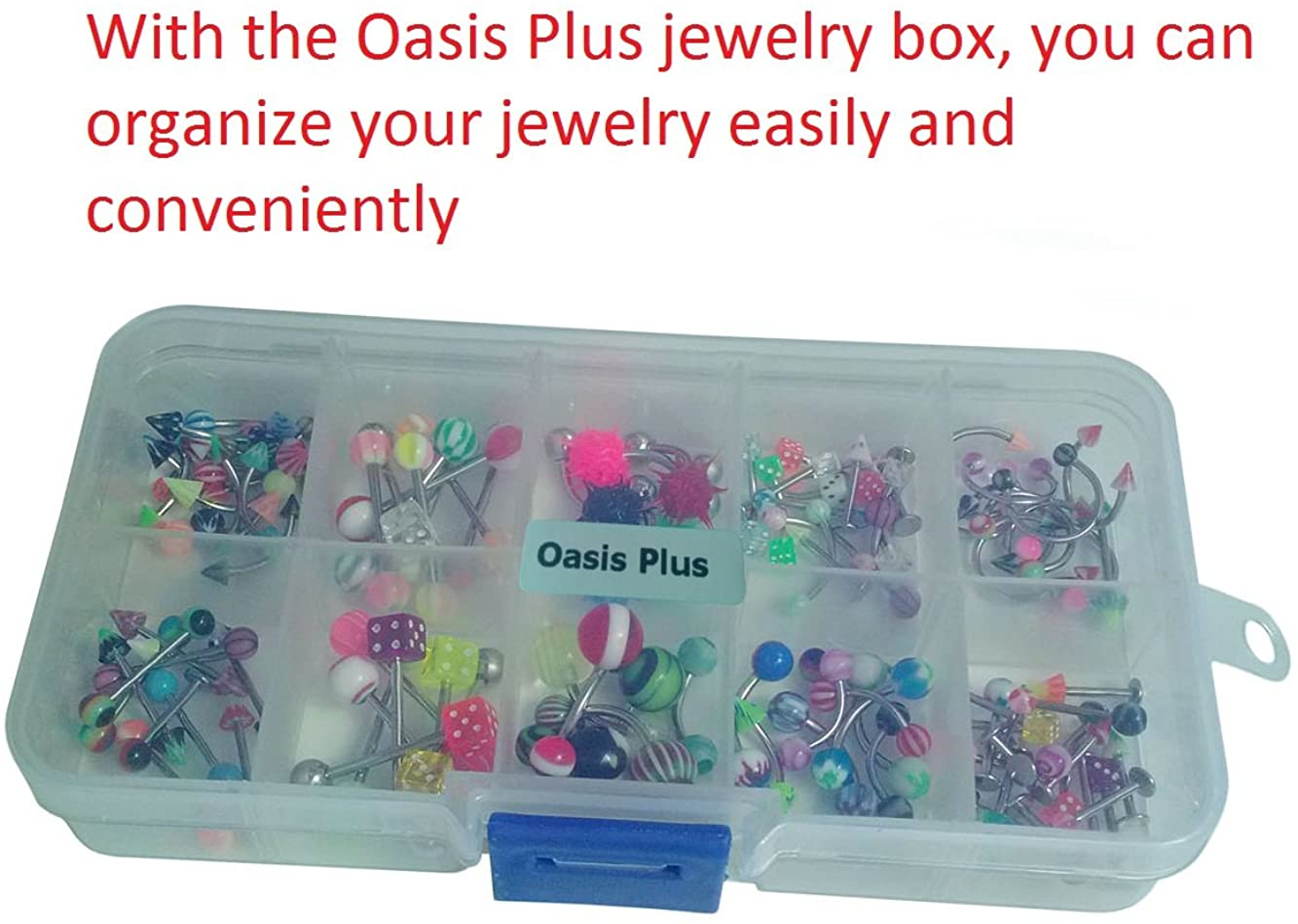 Oasis Plus Lot 110 PCS Body Jewelry Piercing Kit Eyebrow Navel Belly Tongue Lip Bar Nose Ring 22 Styles (No Duplicates)