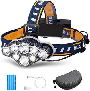 Rechargeable Headlamp, TAZLER 8 LED Head lamp Flashlight 13000 Lumens 8 Modes with USB Cable 2 Batteries, Waterproof LED H...