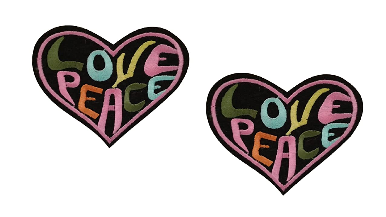 2 pieces LOVE PEACE HEART Applique Embroidered Motif Fabric Love Valentine Decal 3.5 x 3 inches (8.8 x 7.5 cm)
