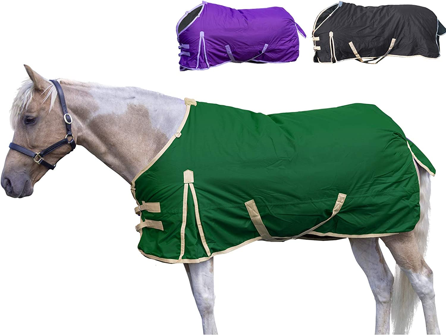 Derby Originals 600D Deluxe Turnout Winter Blanket Waterproof, Insulated, Lined & Breathable Full Horse Sizes, 84 , Green