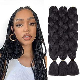 QingJun 3Packs 24 inch Braiding Hair Ombre Jumbo Braiding Hair Kanekalon Synthetic Braiding Hair for Hair Extension (Black)