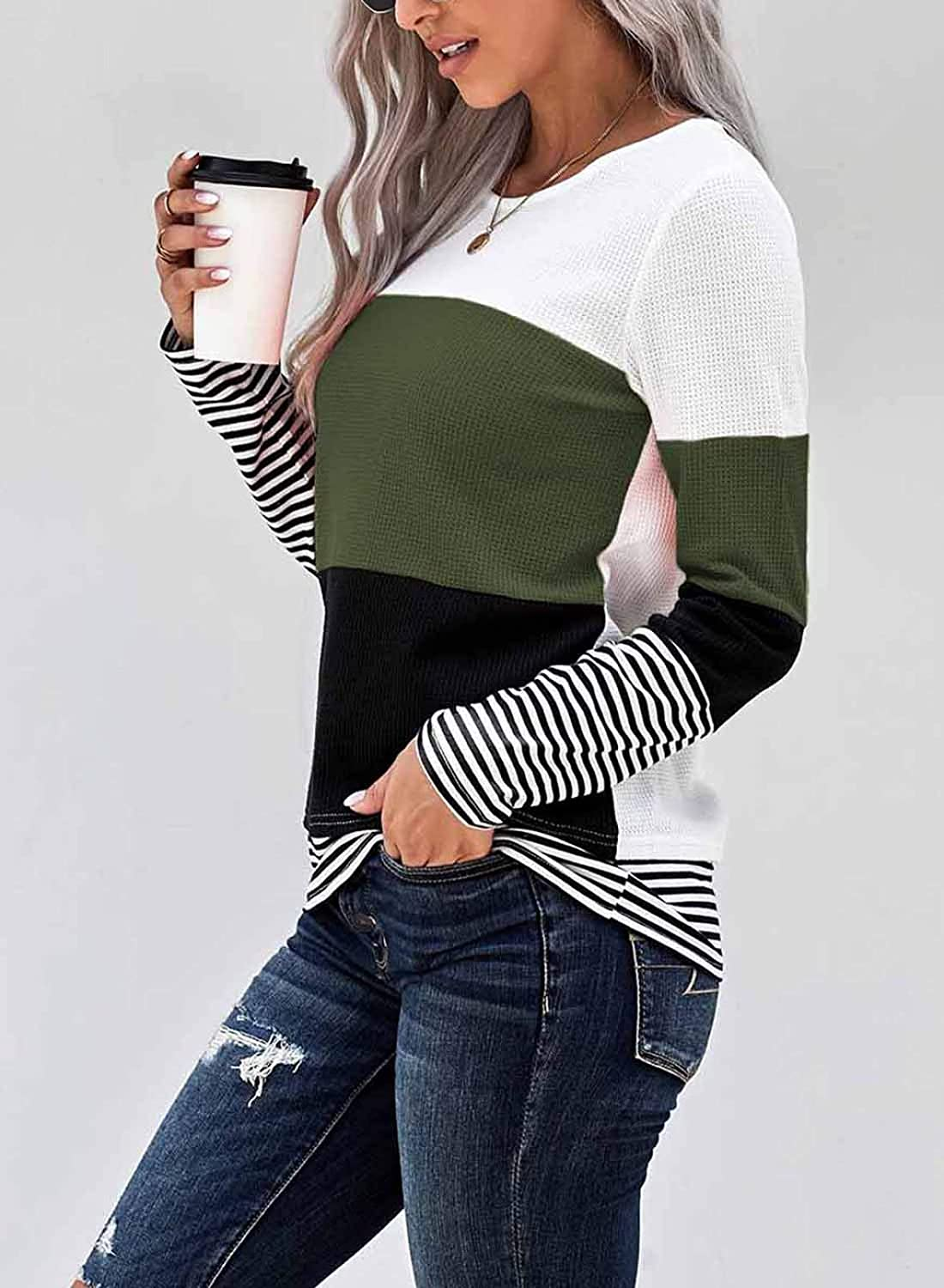 Eytino Women Casual Long Sleeve Round Neck Colorblock Loose Tunic Shirt Blouse Tops S-XXL