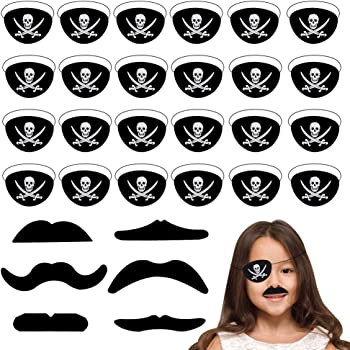 27 Pieces Pirate Party Supplies Sets Halloween Costume Party Favors Pirate Party Costume Prop Pirate Bandana Eye Patch Fake Mustaches