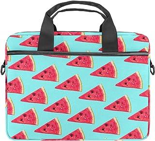 nakw88 Laptoptasche aus Segeltuch mit Wassermelonenscheiben, türkiser Hintergrund, 34 - 36,8 cm 13,3 - 14,5 Zoll