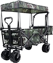 Push and Pull Collapsible Utility Wagon, Heavy Duty Folding Portable Hand Cart with..