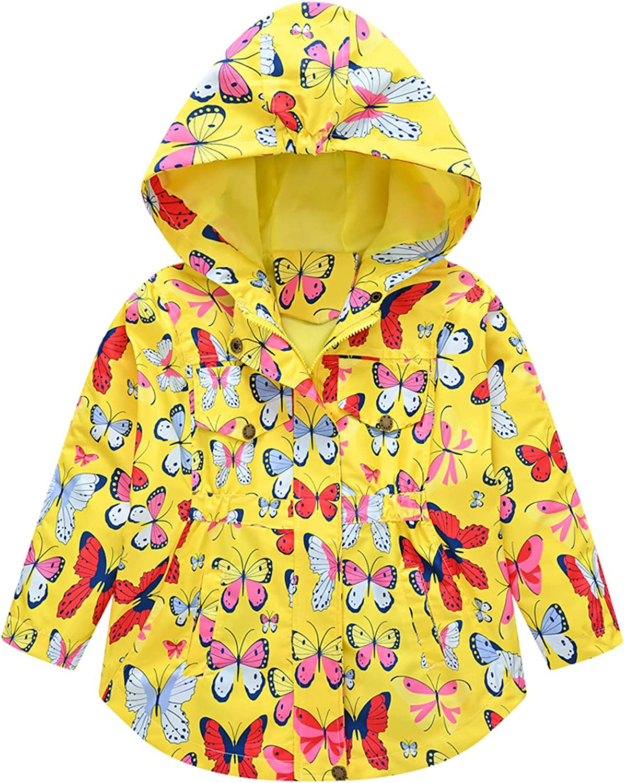 Betusline Girl's Kids Butterfly Print Hooded Windbreaker Jacket, 2 - 8 Years