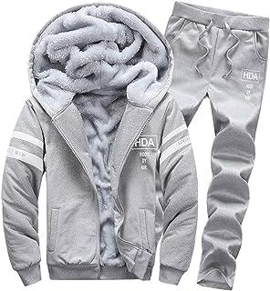 Goorape Mens Fleece Lined Sweatsuit Striped Casual Winter Coat Sports Tracksuit Gray L