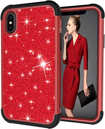 iPhone Xs Case, iPhone X Case, Dooge Shockproof Glitter Bling Crystal Shiny Case 3in1 Heavy Duty Hybrid Armor Defender Full-Body Rugged High Impact Protective Girl Women Case for Apple iPhone X/XS